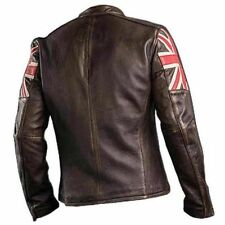 New UK Flag Men's Biker Vintage Style Motorcycle  Cafe Racer Leather Jacket-BNWT