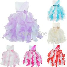 Girls Flower Formal Ruffle Dress Pageant Wedding Bridesmaid Birthday Party Gown