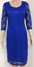 Ladies Knee Length Royal Blue All Over Lace Dress Womens Crew Neck Fitted Gown