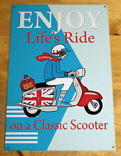 Metal Scooter Sign, Mod Scooter Sign, LI Scooter Signs, Classic Italian Scooter