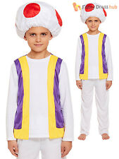 Childs Mushroom Toad Costume Boys Mario Bros Kart Fancy Dress Book Week Outfit