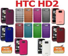 AMZER Silicone Jelly Skin Fit Gel Luxe Argyle TPU Cover + extra Case For HTC HD2