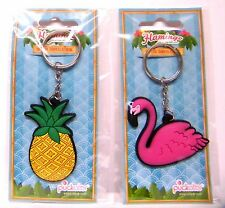 Keyring Pineapple Flamingo Mother's Day GIft Tropical Yellow Fruit Pink Bird PVC