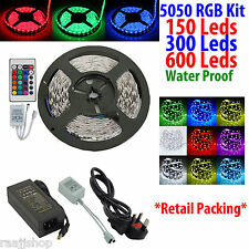 5050 5M 150 300 600 RGB LEDs SMD IMPERMEABLE TIRA KIT COMPLETO+A DISTANCIA+3 PIN