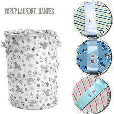 LARGE POPUP LAUNDRY COTTON BAG WASHABLE FOLDABLE HAMPER STORAGE BIN ORGANIZER