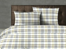 Taupe / Grey Tartan Yarn Dyed Cotton Duvet Cover