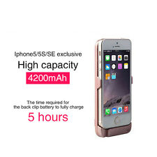 External Power Back Backup Battery Charger Case Cover For Apple iPhone 5 5s SE