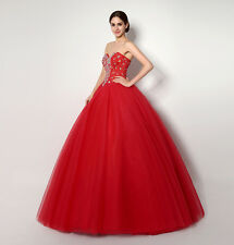 New Womens Red Crystal Formal Party Prom Dress Lace Up Back Strapless Ball Gowns