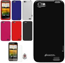 AMZER Silicone Skin Jelly Gel Cover + extra Case /Screen Protector For HTC One V