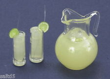 Lemonade Set Pitcher 2 Glasses w/Lemon 1:12 Scale Dollhouse Miniature  New