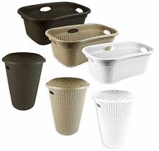 Rattan Woven Style Plastic Laundry Basket Bin Storage Box Round Hipster Hamper