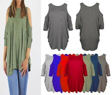 Womens Ladies Cold Shoulder 3/4 Sleeves Oversized Top T Shirt Top Size UK 8-26
