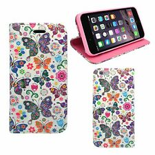 Apple iPhone 6 / 6s Plus Piedrería Multi Mariposa Flor Funda de cuero de pu