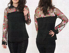 Womens Ladies Long Sleeves Mesh Floral Collared Embroidered Shirt Top