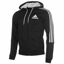 adidas 3 Stripe Full Zip Hoody Mens Black/White Hoodie Jacket Top Sportswear