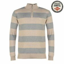 Lee Cooper ¼ Zip Knit Jumper Mens Oatmeal/Grey Sweater Pullover Top