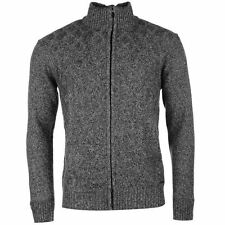 Pierre Cardin Full Zip Knit Cardigan Mens Charcoal Jumper Sweater Top