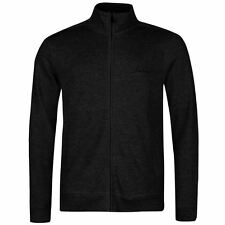 Pierre Cardin Full Zip Cardigan Mens Black Jumper Sweater Top