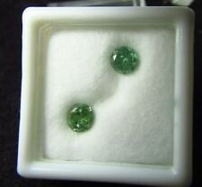 1.28 ctw Green Demantoid Garnets Pair 5 mm Rounds Namibia Africa Rare Gems