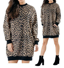 New Womens Ladies Animal Leopard Print Oversized Sweatshirt Jumper Dress Top