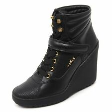 B7386 tronchetto donna HOGAN H249 scarpa stivaletto zeppa nero shoe boot woman