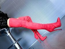 MORI OVERKNEE EXTREME HEELS ITALY STIEFEL BOOTS SUEDE STRETCH LEATHER RED ROSSO