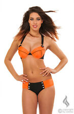 Push Up Bikini Badeanzug sexy BH Top Swimwear Bademode orange schwarz S M 36 38