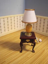 Dollhouse Miniature  Furniture ~ Table Lamp ~ 12 Volt ~  Gold trimmed Shade ~
