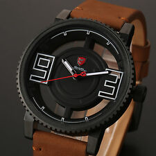 Shark Mens Leather Hollowed Dial Sport Stainless Steel Quartz Analog Wrist Watch