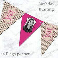 Personalised Birthday Bunting 5th 13th 16th 18th 21st 30th 40th 50th 60th Banner