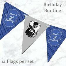 Personalised Birthday Bunting 5th 13th 16th 18th 21st 30th 40th 50th Boys Banner