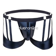 Sexy Mens Backless Patent Leather Open Butt Thong Gay Briefs Bikini Underwear