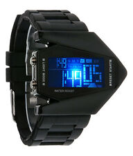 New Style Men's LED Watch Aircraft Digital Color Changing + Alarm Wrist Watch