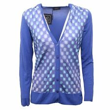 B7780 cardigan donna PAUL & SHARK blu maglione seta sweater woman