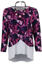 Womens Semi Sheer Mesh Lined Layered Long Sleeve High Low Floral Blouse Top
