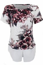 Womens Short Sleeve Sequin Diamante Floral Chiffon Layered 2in1 Blouse Top Shirt