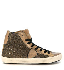 Sneakers Philippe Model Classic High in glitter cuoio e pelle taupe