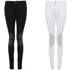 Women's Stretch Slim Fit Cut Out Slit Knee Square Studded Skinny Ripped Jeans