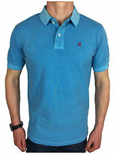 Replay Mens Garment Dyed Branded Polo Shirt in Sea Blue