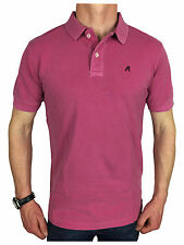Replay Mens Garment Dyed Branded Polo Shirt in Bubblegum