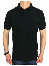 Replay Mens Garment Dyed Branded Polo Shirt in Black