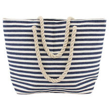 Ladies Blue Striped Nautical Shoulder Tote Summer Beach Shopper Casual Bag