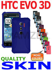 AMZER Silicone Skin Jelly Case Gel Luxe Argyle & Screen Protector For HTC EVO 3D