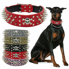 """2""""Wide Skull Spiked Studded PU Leather Dog Collar for Large Dogs Pitbull Mastiff"""