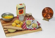 Dollhouse Miniature Bread Rolls Baking Set with Eggs Minis 1:12 Scale