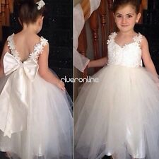 Elegant Lace Flower Girls Dresses Princess Bridesmaid Wedding Formal Party Gown