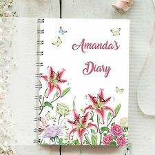 Personalised Diary Lily 1 Week to 1 Page, Any Month Start, 1 Year Planner Gift