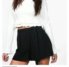 NEW Ladies Tie Belt Tailored Shorts Black and Mauve