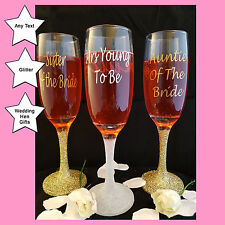 Personalised Champagne Flute Glasses, Wedding Present or Gift Hen Party