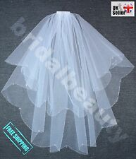 Girls 2T White First Holy Communion Veil with Crystal Diamanté or Pearls Cross